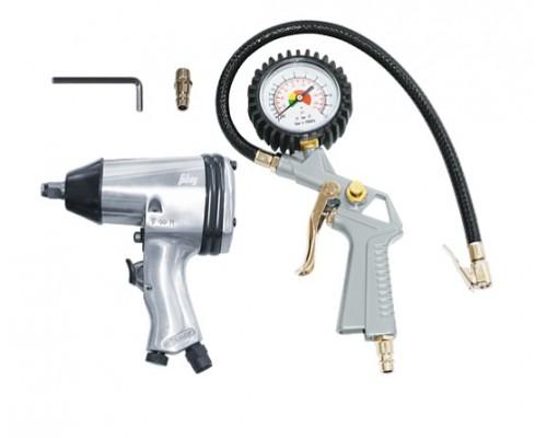 Набор пневмоинструмента, 2 предмета  (пневмогайковерт (158л/мин_312н/м_7000об/мин) + пневмопистолет для накачки шин с манометром)