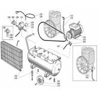 двигатель 3HP (2,2kW) вал D19mm для B2800B и B2800BI (использ-ть с одним из шкивов 9076015, 9076030, 9076032)